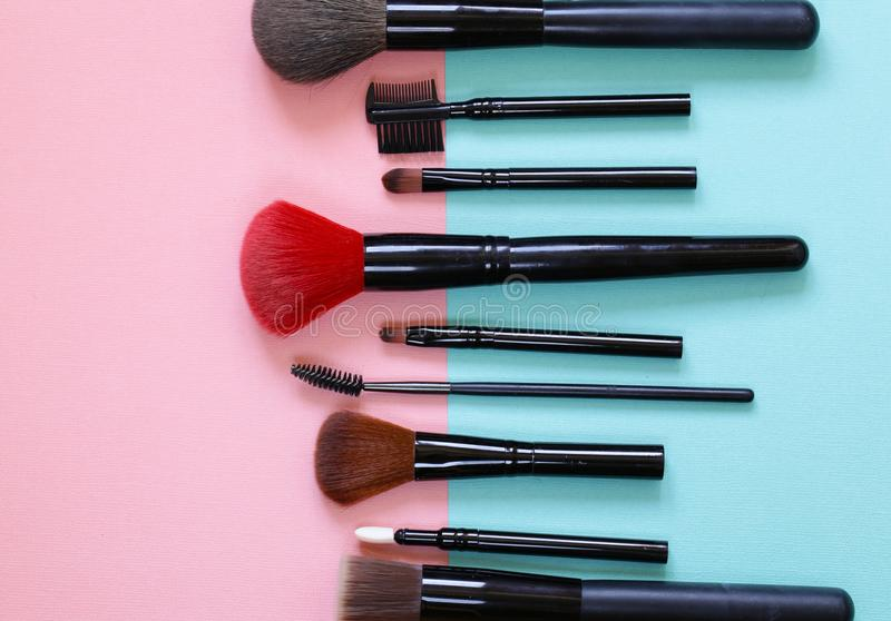 Set of various makeup brushes royalty free stock images