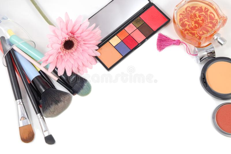 Set of various makeup products professional decorative cosmetics, makeup tools and accessory on white background with copy space stock photo