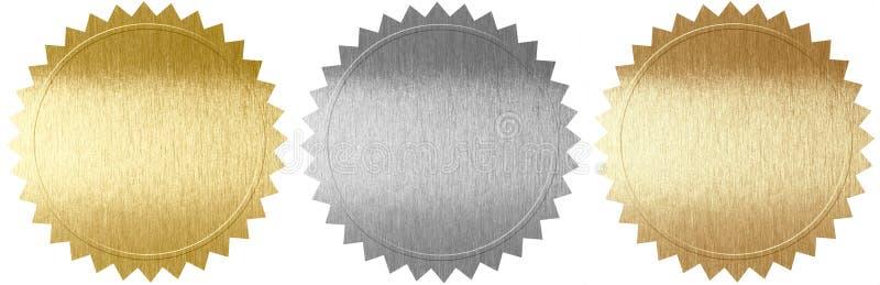 Set of various metal seals royalty free illustration