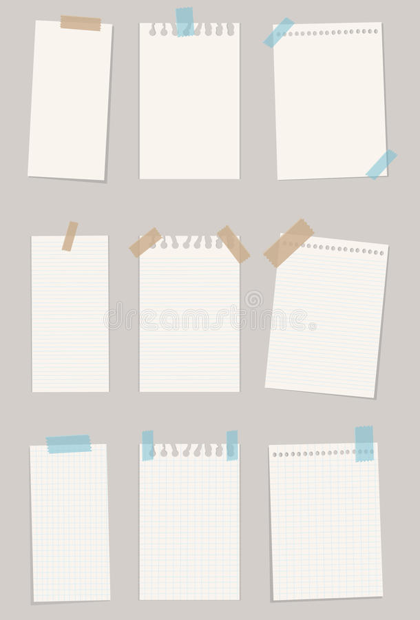 Set of various note papers. Vector illustration. EPS 10 stock photography