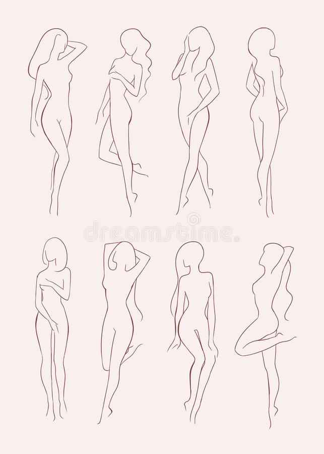 Set of various nude woman silhouette. Beautiful long-haired girl in different poses. Hand drawn vector illustration stock illustration