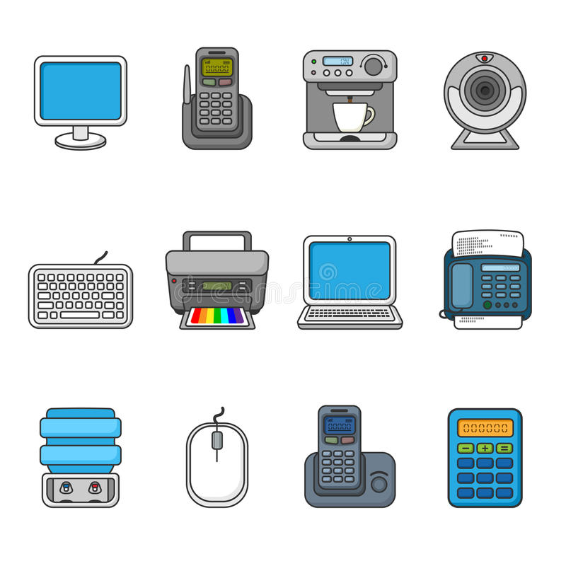 Set of various office equipment, symbols and objects. Colorful outlined icon collection. Vector illustration. Telephones, fax, printer, monitor, laptop, coffee vector illustration