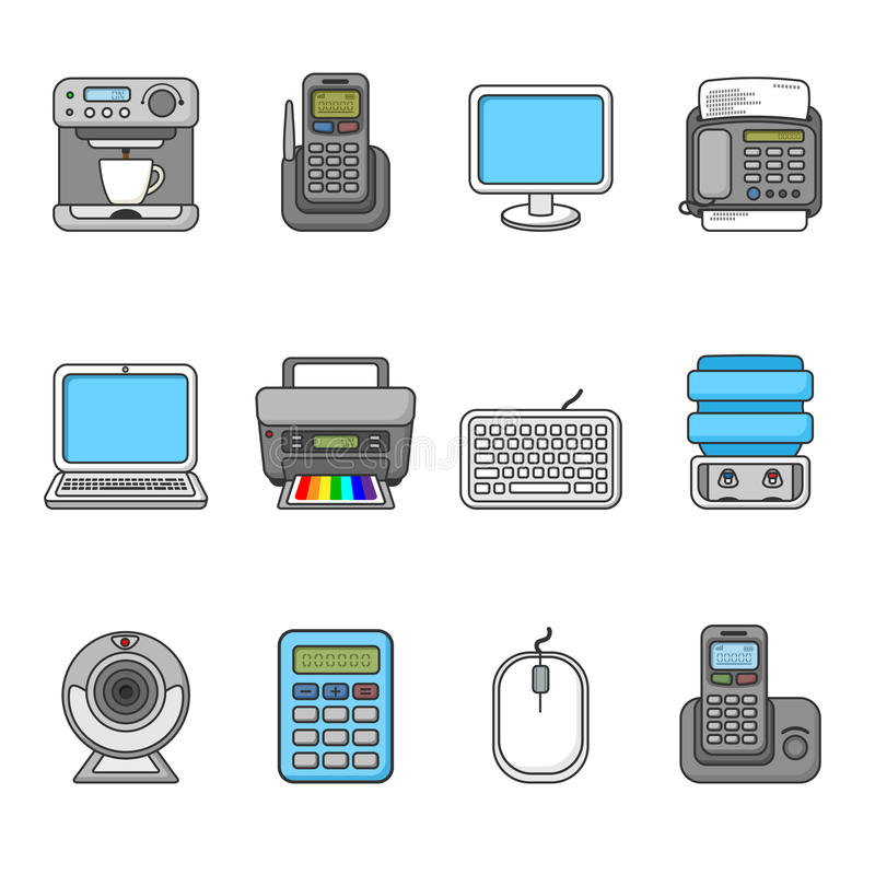 Set of various office equipment, symbols and objects. Colorful outlined icon collection. Vector illustration. Telephones, fax, printer, monitor, laptop, coffee stock illustration