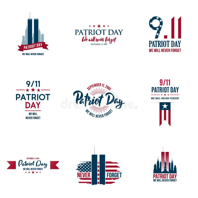 Set of various Patriot Day graphics, cards and banners, emblems, symbols, icons and badges. USA patriotic illustrations for September 11 anniversary. American vector illustration
