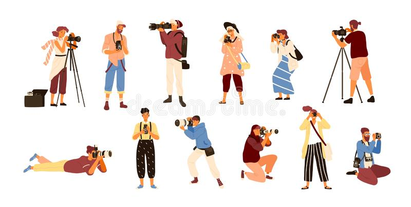 Set of various photographers holding photo camera and photographing. Creative profession or occupation. Cute female and royalty free illustration
