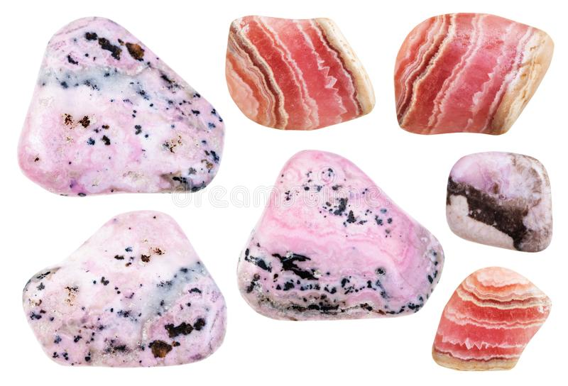 Various polished mineral rhodochrosite gemstones royalty free stock photo