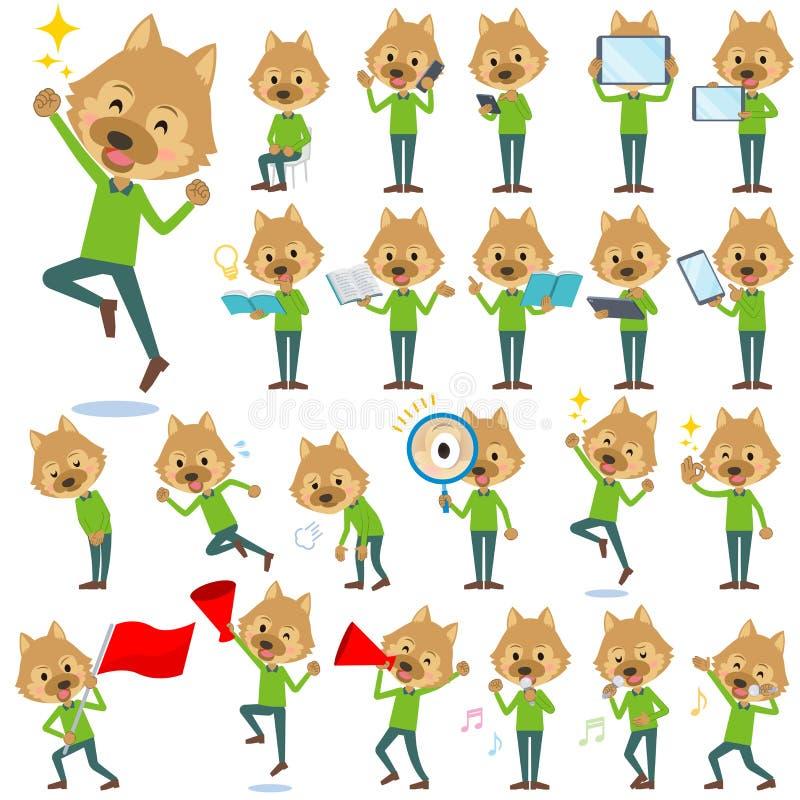 Animal dog man_2. Set of various poses of animal dog man_2 vector illustration