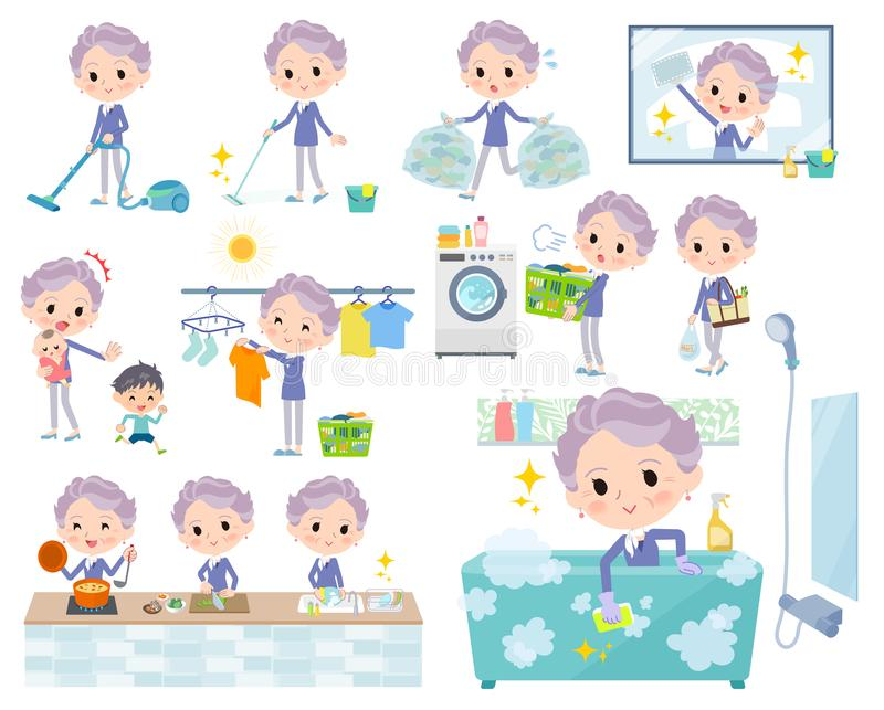 Blue one piece old women_housekeeping royalty free illustration