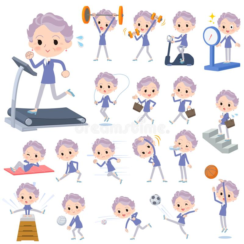 Blue one piece old women_Sports & exercise. Set of various poses of blue one piece old women_Sports & exercise vector illustration