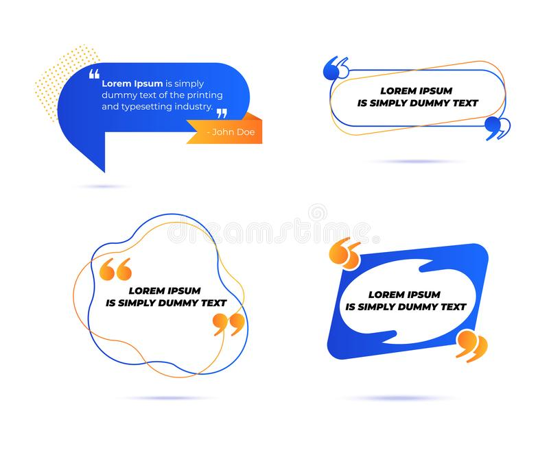 Set of Various Quotes and Speech Bubbles, Blank Layout Template, Quote Box Frames. Remark, Mention Quotations stock illustration