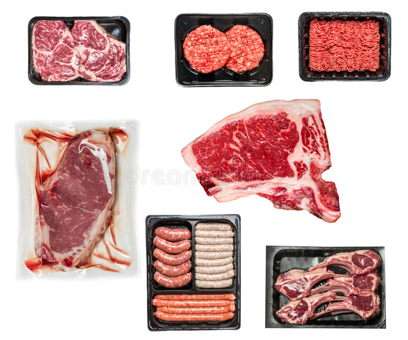 set of various raw meat stock photography
