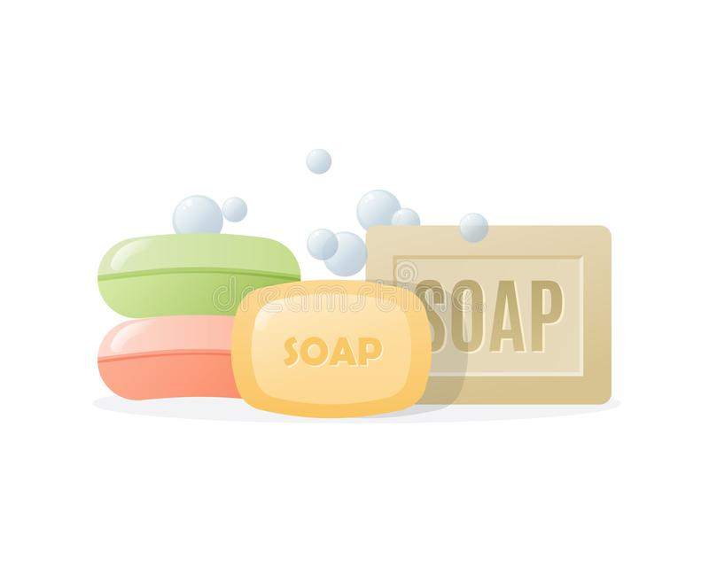 Set various realistic, colored solid soaps with foam and bubbles. vector illustration