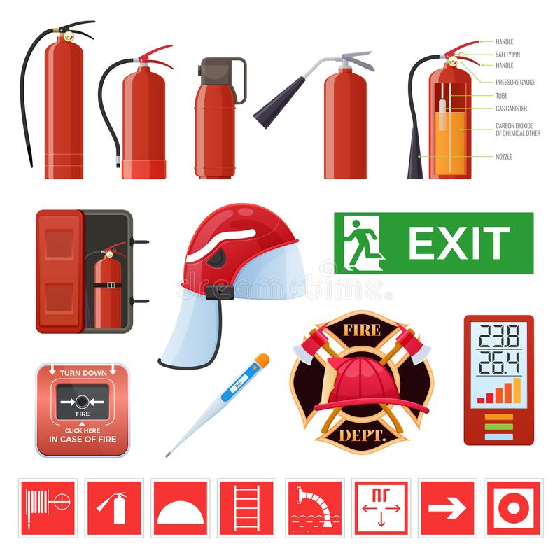 Set of various red metal fire extinguishers. Signs, thermometers, helmet. royalty free illustration