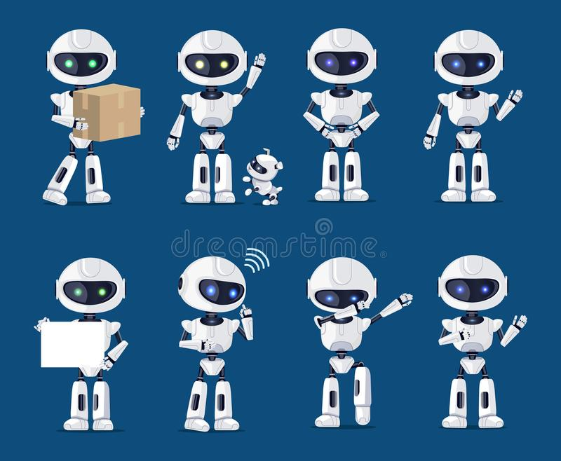 Set of Various Robots Activity Vector Illustration. With many ai machines carrying box, playing with puppy, dabbing and standing, speaking and dancing stock illustration