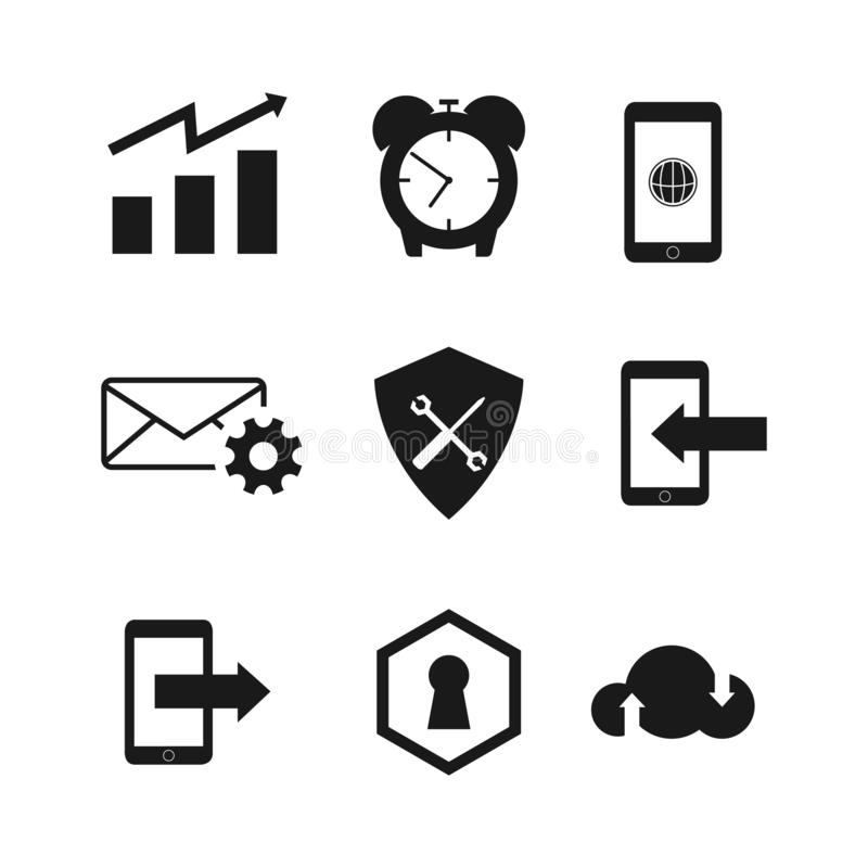 Collection of icon business vector design vector. Set of various silhouette icon vector business design on white background vector illustration