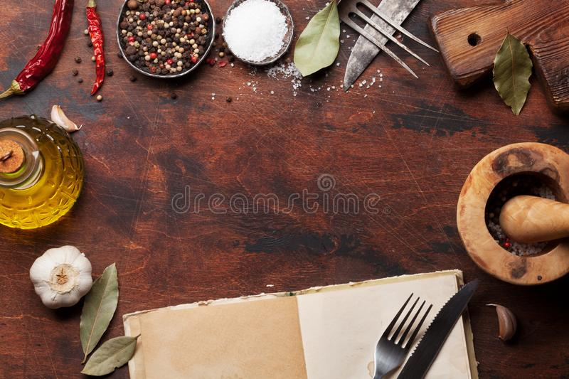 Set of various spices and herbs stock images