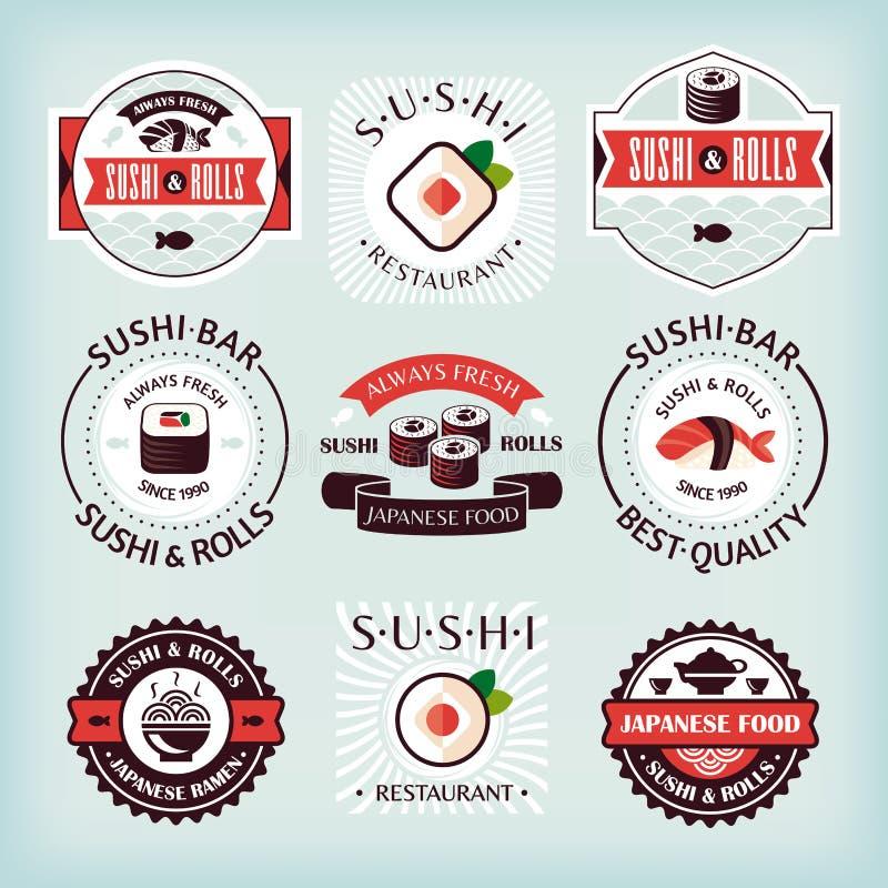 Set of various sushi labels. Vector illustration royalty free illustration