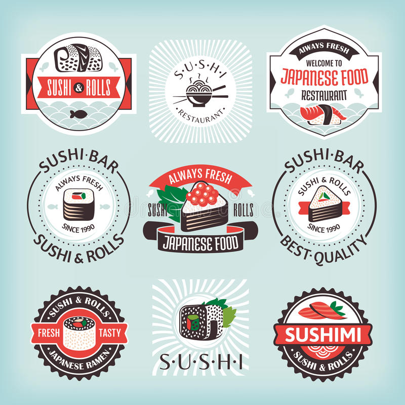 Set of various sushi labels. Vector illustration vector illustration