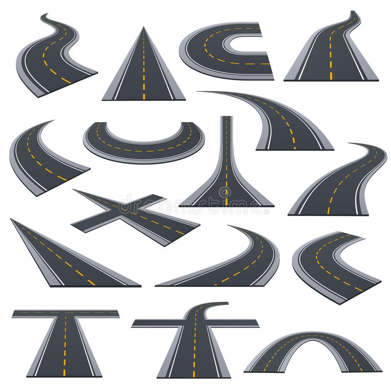 Set of various types of asphalted roads, track, highways, turns. Set of various types of asphalted roads, track, highways, car roads with bends, ascents, turns stock illustration