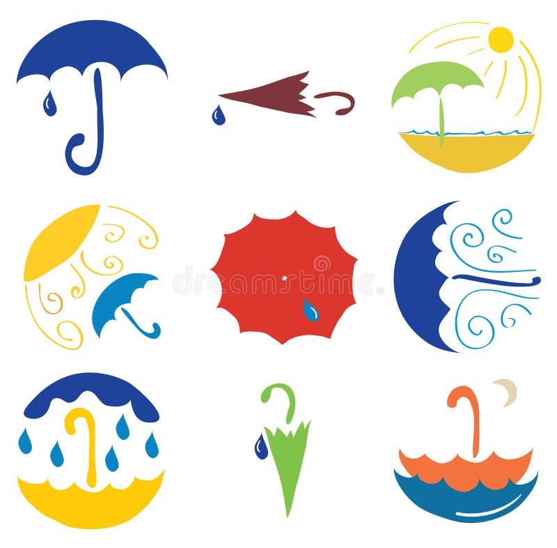 Set of various umbrellas. Set of vector plots from different umbrellas royalty free illustration