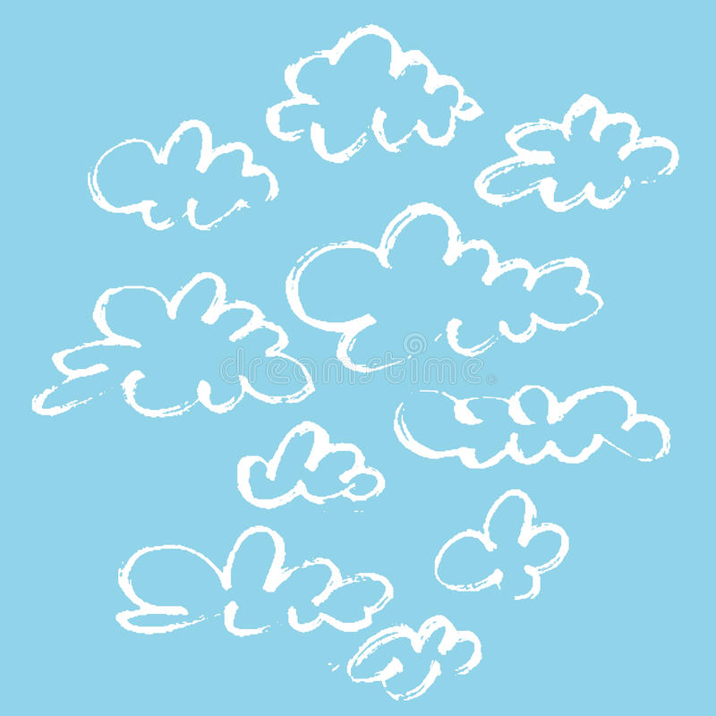 Set of various unique clouds on blue background. Hand drawn clouds. Marker stroke sky. royalty free illustration