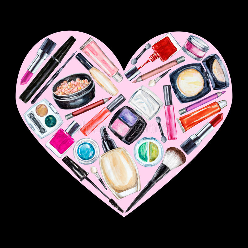 Set of various watercolor decorative cosmetic. Makeup products. Beauty items, mascara, lipstick, foundation cream, brushes, eye shadow, nail polish, powder stock illustration