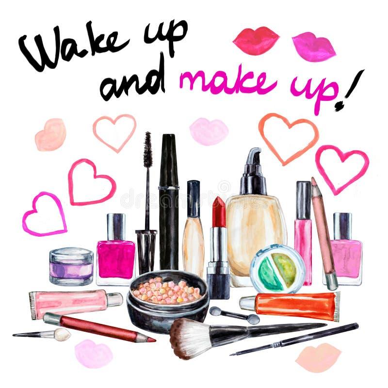 Set of various watercolor decorative cosmetic. Makeup products. Beauty items, mascara, lipstick, foundation cream, brushes, eye shadow, nail polish, powder vector illustration