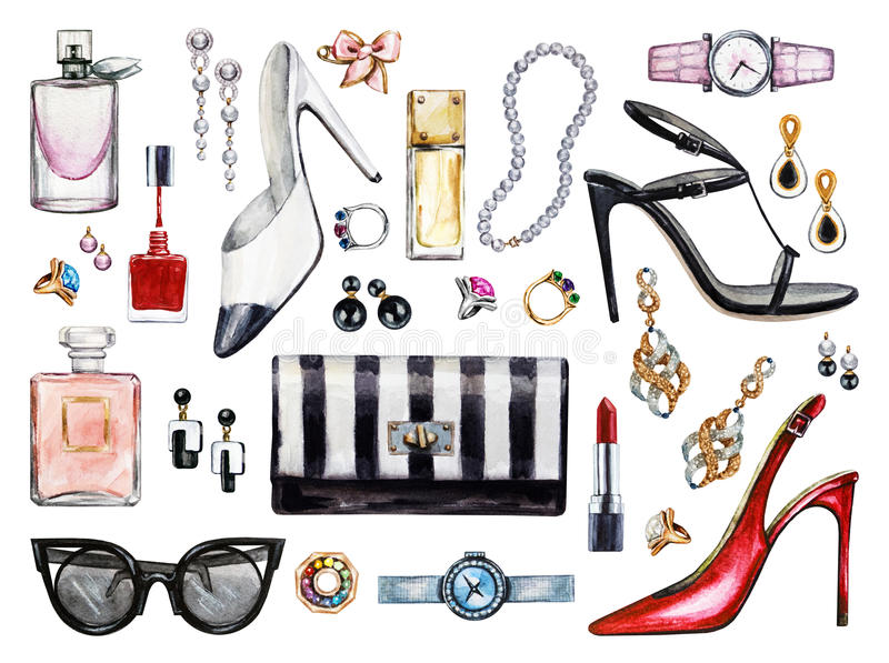 Set of various watercolor female accessories. Makeup products. High heel shoes, perfumes, lipstick, earrings, rings, beads, nail polish, watch, sunglasses