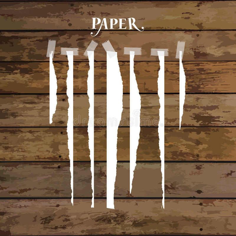 Set of various white torn note papers with adhesive tape. Vector vector illustration