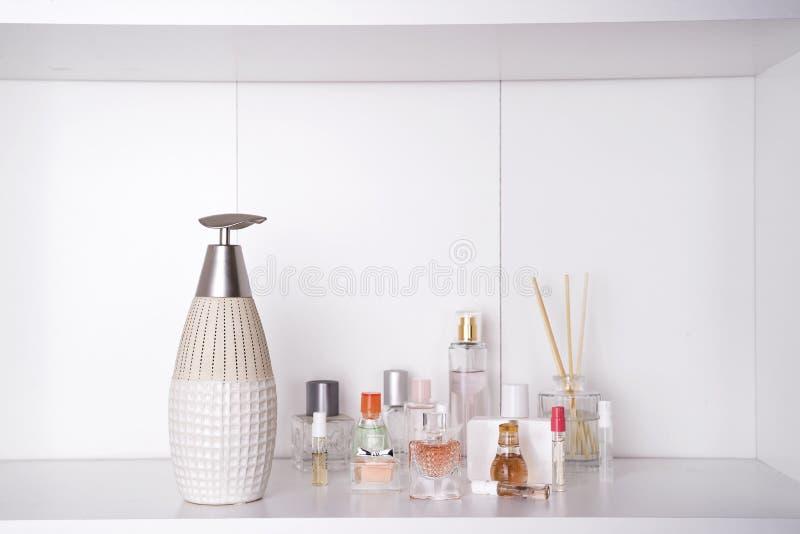 Set of various woman perfumes royalty free stock photography