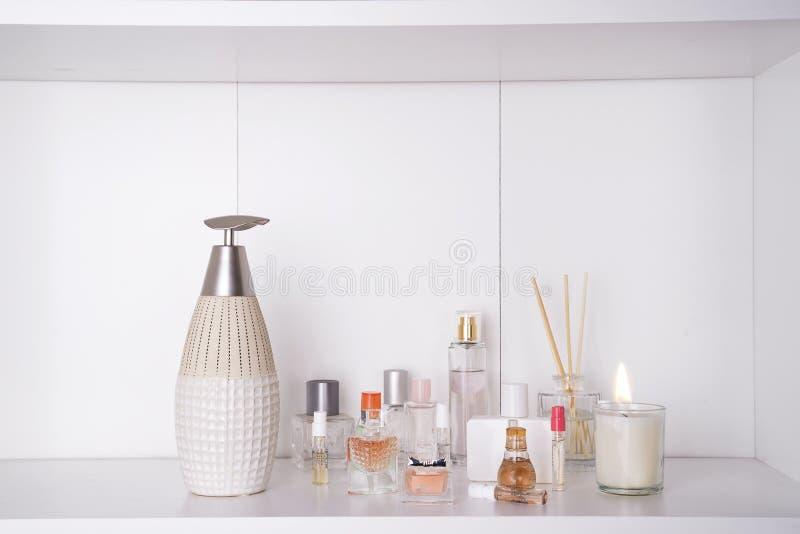 Set of various woman perfumes royalty free stock image