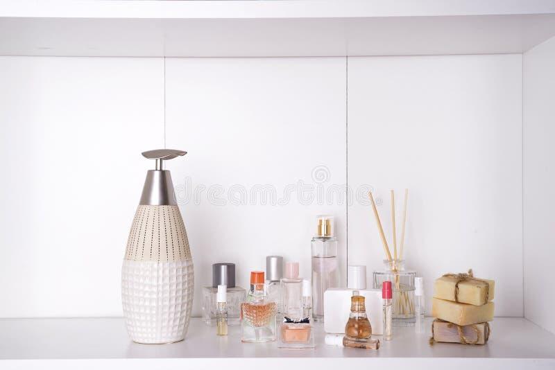 Set of various woman perfumes stock image
