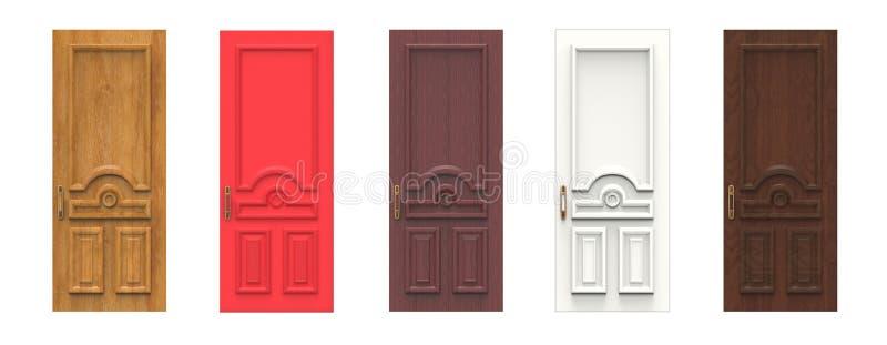 Set of various wooden doors. 3d illustration royalty free illustration