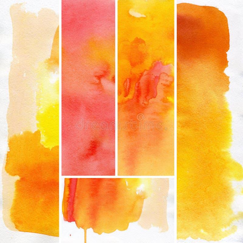 set vattenfärg för abstrakt bakgrund stock illustrationer