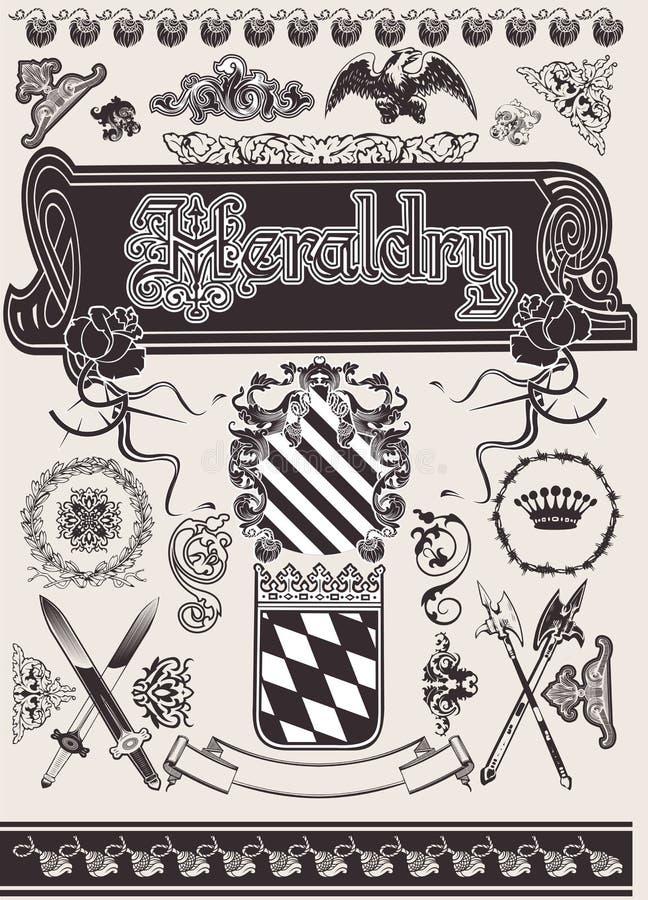 set vecor för heraldik royaltyfri illustrationer
