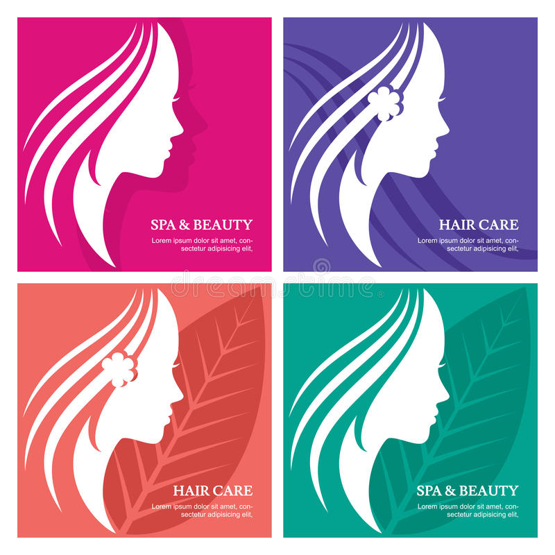 Set of vector abstract background with beautiful woman face silhouette. Profile of the young girl. Abstract design concept for be. Auty salon, massage, cosmetic royalty free illustration