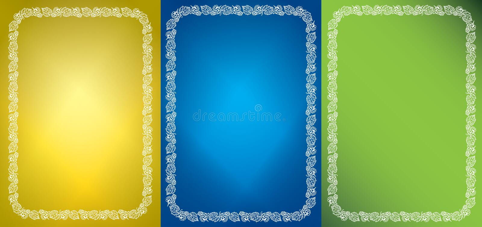 Set of vector abstract backgrounds and white frames with grape clusters stock illustration