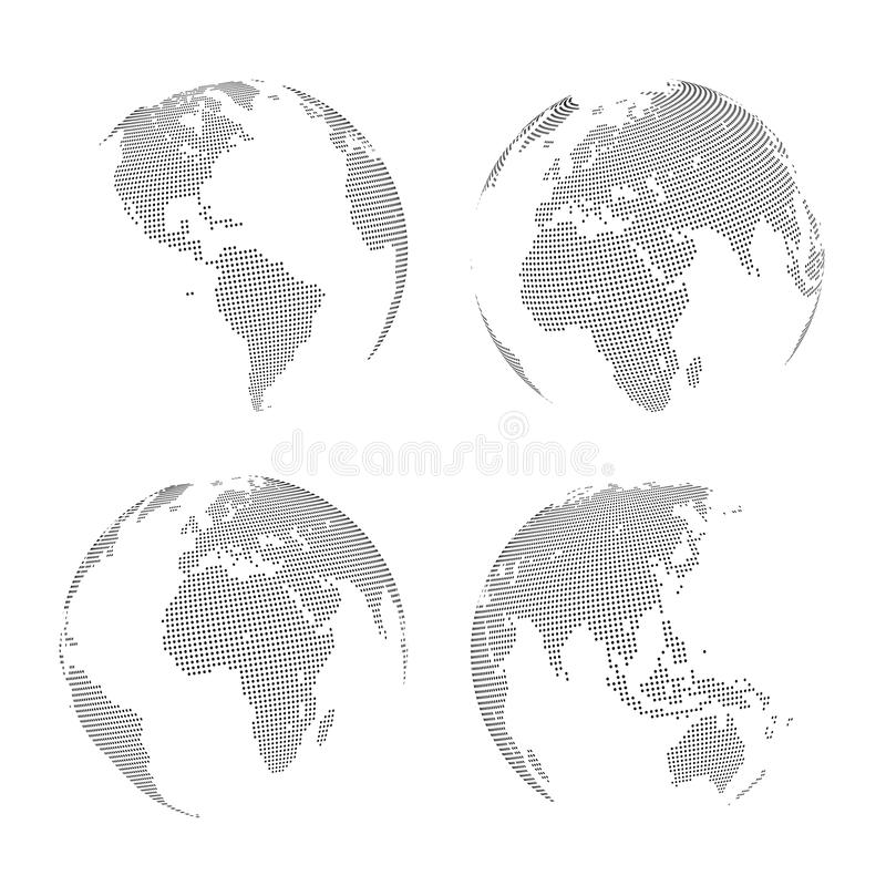 Set of Vector abstract dotted Globes. Vector illustration stock illustration