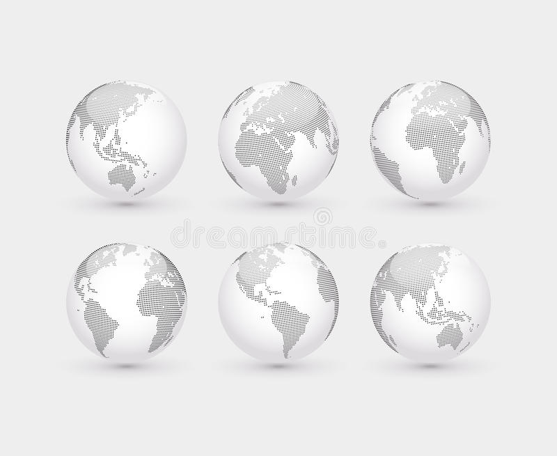 Set of vector abstract dotted globes. Six globes, including a view of the Americas, Asia, Australia, Africa, Europe and the Atlantic stock illustration