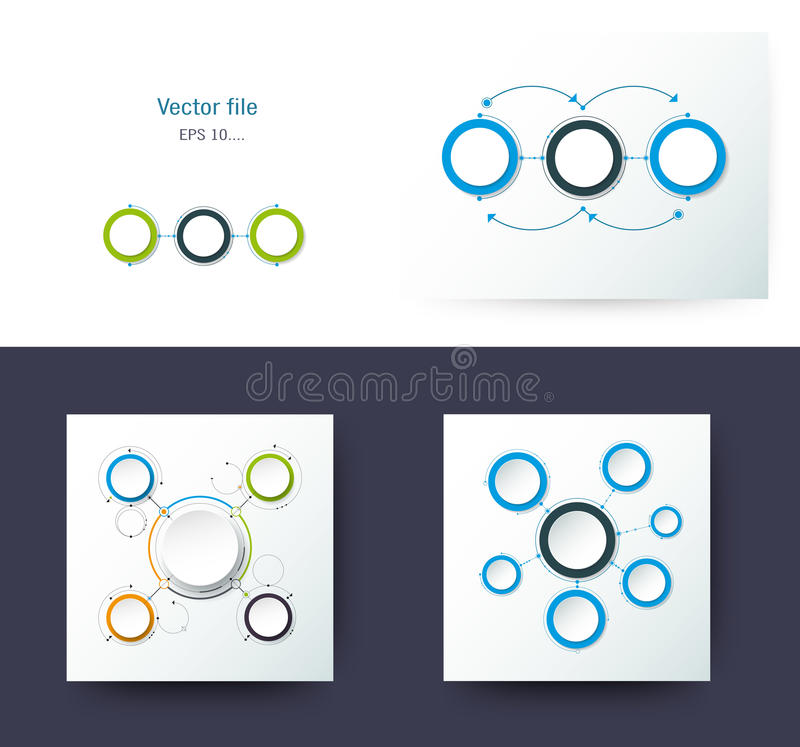 Set of Vector abstract molecules with 3D paper label. Integrated circles. Blank space for content, business, infographic template, diagram, network, web design vector illustration