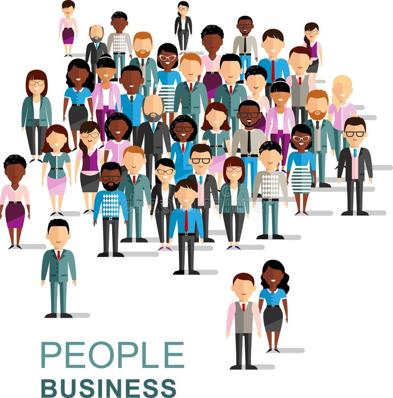 Set of vector african american, european business peoples royalty free illustration