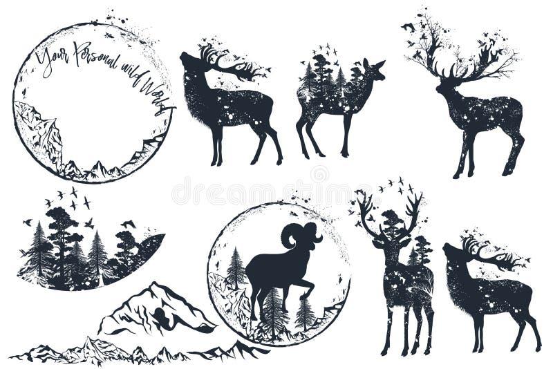 Set of vector artistic deer silhouettes for design, retro style stock illustration