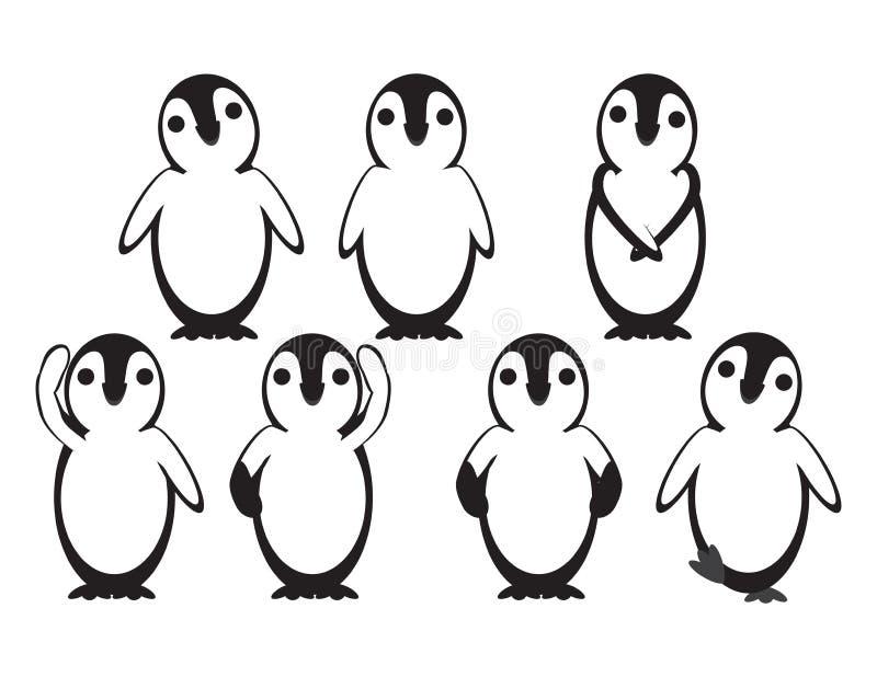 Set Vector Baby Penguins auf weißem Hintergrund stock abbildung