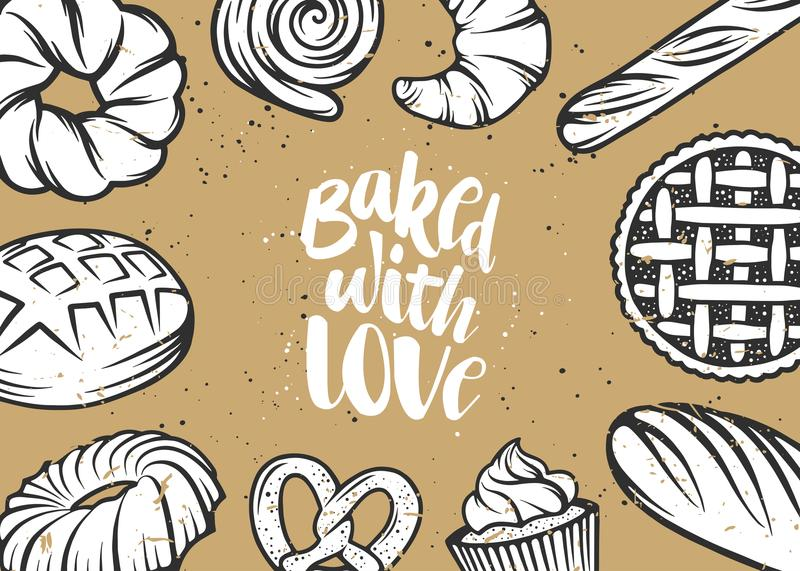 Set of vector bakery elements and handwritten lettering. vector illustration