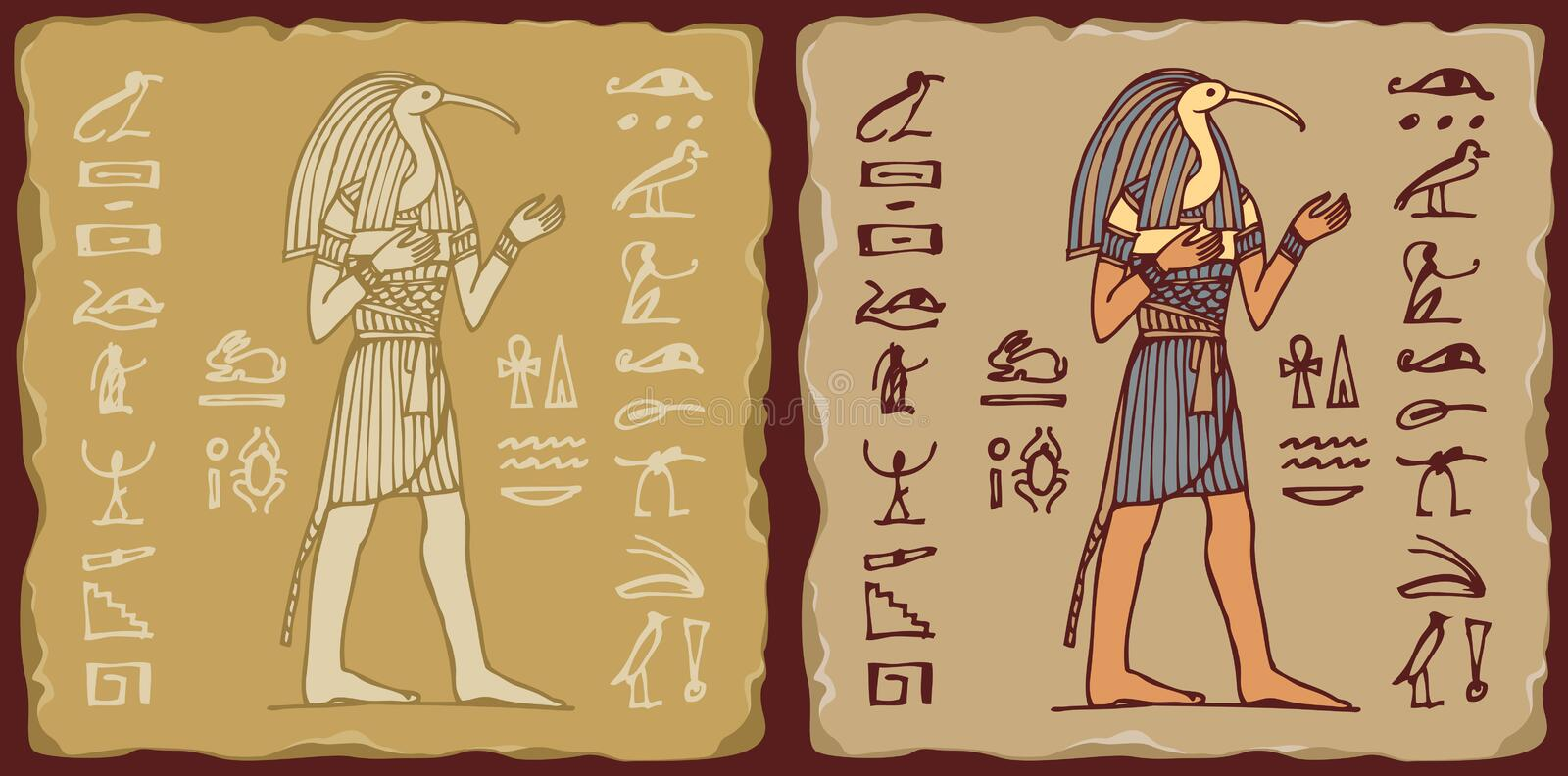 Tiles with the Egyptian God Thoth and hieroglyphs. Set of vector banners in the form of ceramic tiles with God Thoth with hieroglyphs. The Ancient Egyptian god royalty free illustration
