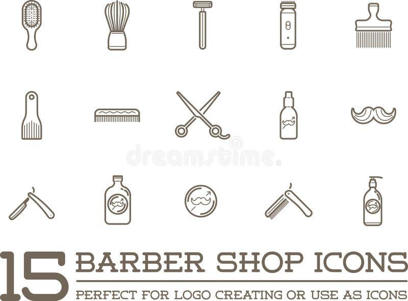 Set of Vector Barber Shop Elements royalty free illustration