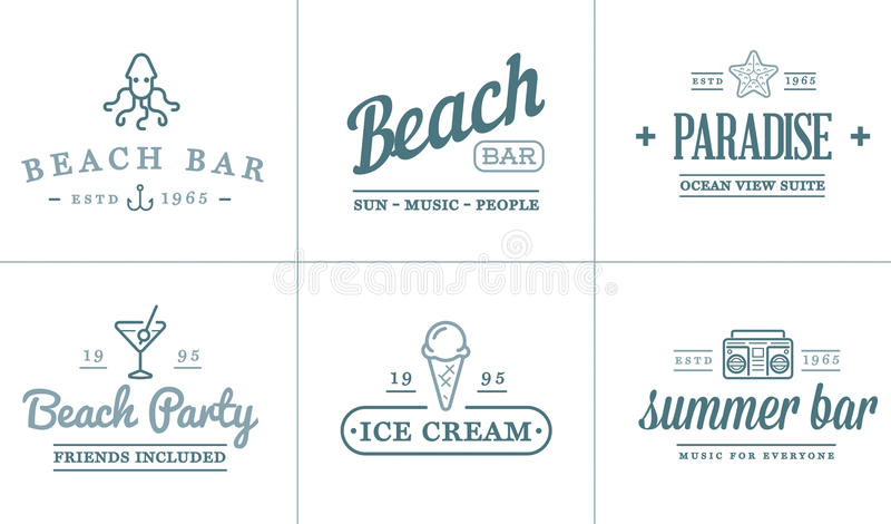 Set of Vector Beach Sea Bar Elements and Summer can be used as Logo. Or Icon in premium quality royalty free illustration