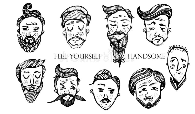 Set of vector bearded hipster men faces. Haircuts, beards, mustaches set. Handsome man emblems icons. stock illustration