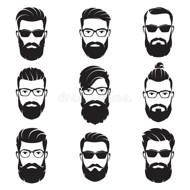 Set of vector bearded men faces hipsters. With different haircuts, mustaches, beards. Silhouettes, avatars, heads, emblems, icons labels vector illustration