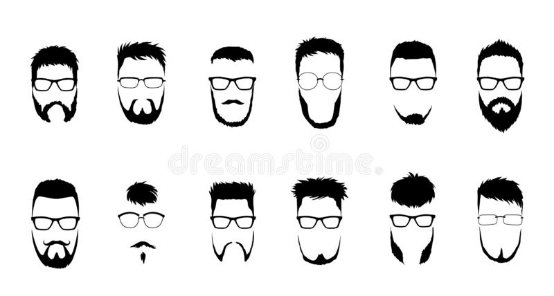 Set of vector bearded men faces, hipsters with different haircuts, mustaches, beards. Silhouettes, emblems, icons. Labels vector illustration